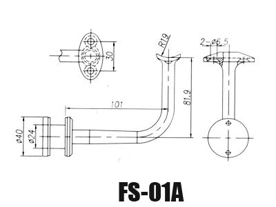 stainless steel glass handrail brackets FS-01A-Dimension