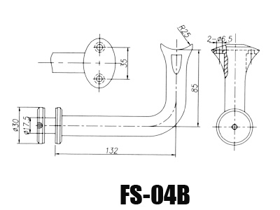 stainless steel glass handrail brackets FS-04B-Dimension