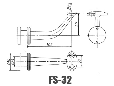 stainless steel glass handrail brackets FS-32-Dimension
