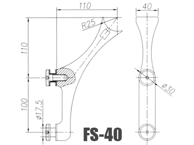 stainless steel glass handrail brackets FS-40-Dimension