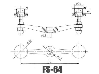 Stainless Steel Glass Handrail Brackets FS-64-Dimension