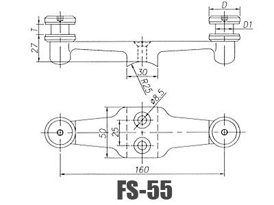 stainless steel  glass handrail brackets FS-55-Dimension