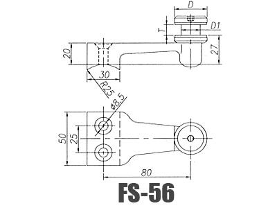 stainless steel  glass handrail brackets FS-56-Dimension